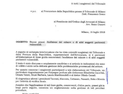 Tribunale Milano, Buone prassi audizione minore